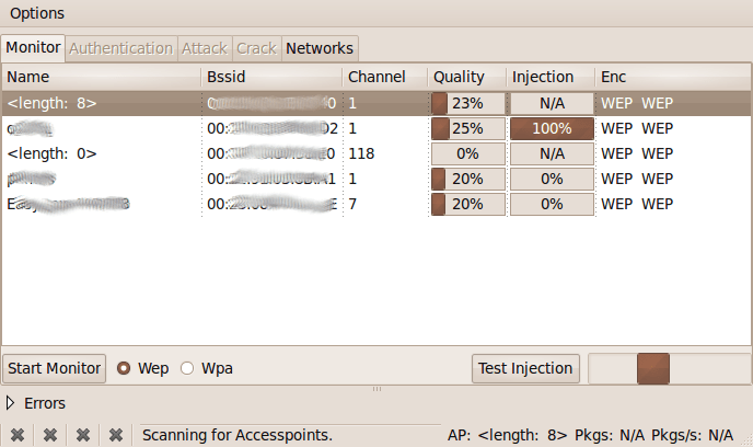 aircrack interfaccia grafica