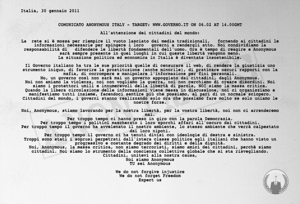 Comunicato anonymous italy target for Sito governo italiano