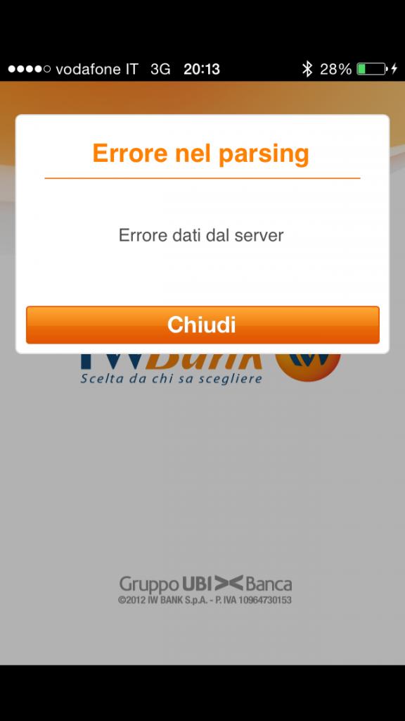 IWBank Servizio Chiuso