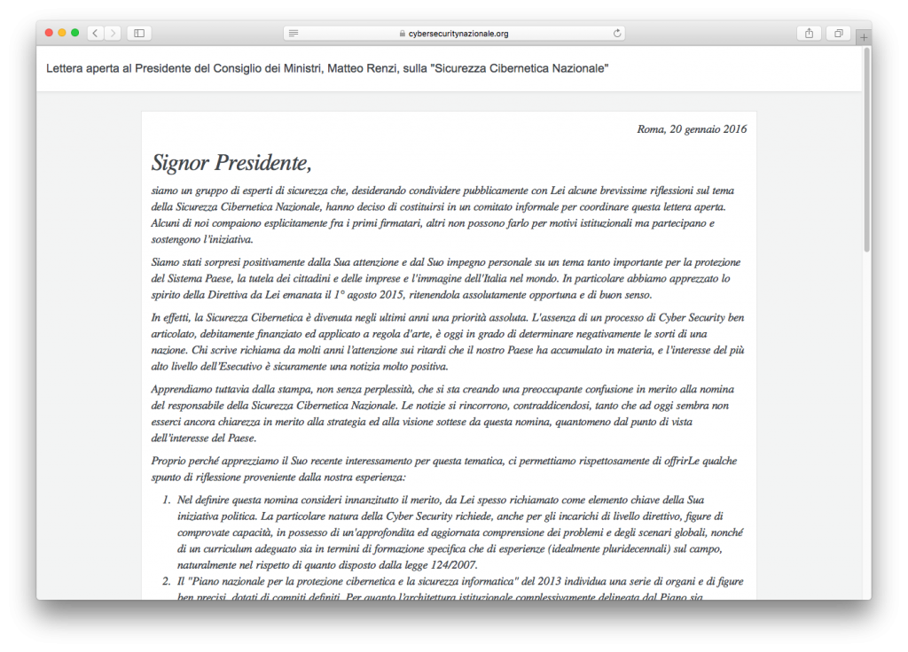 """Lettera aperta al Presidente del Consiglio dei Ministri, Matteo Renzi, sulla """"Sicurezza Cibernetica Nazionale"""""""